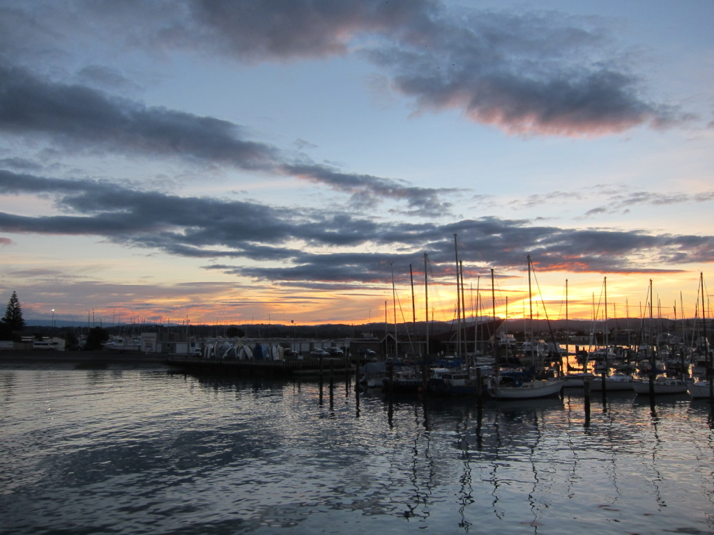 Sunset, boats in the harbour