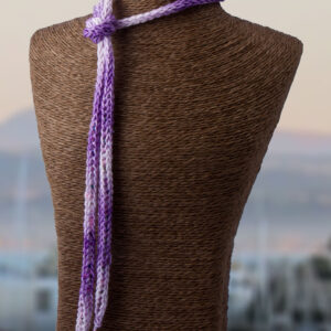 Purple Pink French Knit Long Lariat Beaded Fron