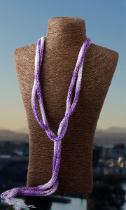 Purple Pink French Knit Long Lariat Beaded Front