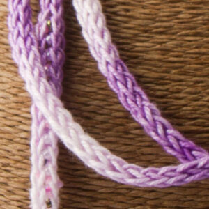 Purple Pink French Knit Long Lariat Beaded Front close up