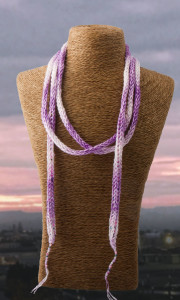 Purple Pink French Knit Long Lariat Beaded Front looped
