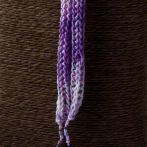Purple Pink French Knit Long Lariat Beaded Front close up thin tassel and beads