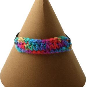 Multi-coloured adjustable bracelet. Tapestry crochet and black chord, adjustable length 16 - 21 cm