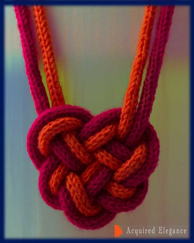 Heart, celtic knot necklace long french knitted chord orange crimson red