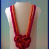 Heart, celtic knot necklace. french knit long necklace