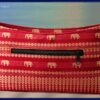 Asian Indian red and gold embroidered elephants small handbag purse back view
