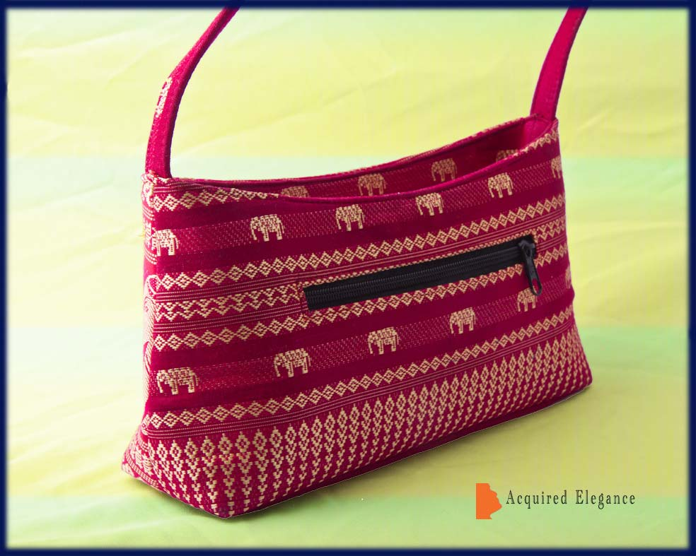 Back of Asiatic Indian Purse in red and gold handbag small