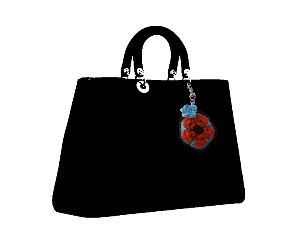 African Flower Padded Charm For Handbags Planners And Keychains
