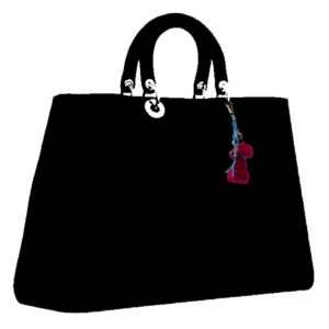 crimson hat charm on drawing of a bag