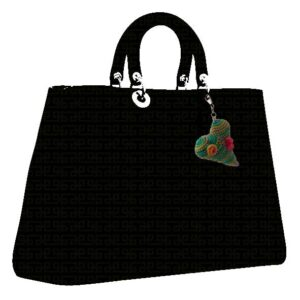 Padded heart charm on mock handbag